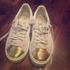 Puma gold accent shoes size 8